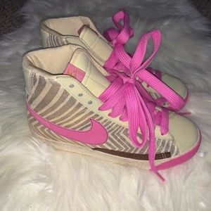 Nike Women's Pink and Gold Hightop Sneakers